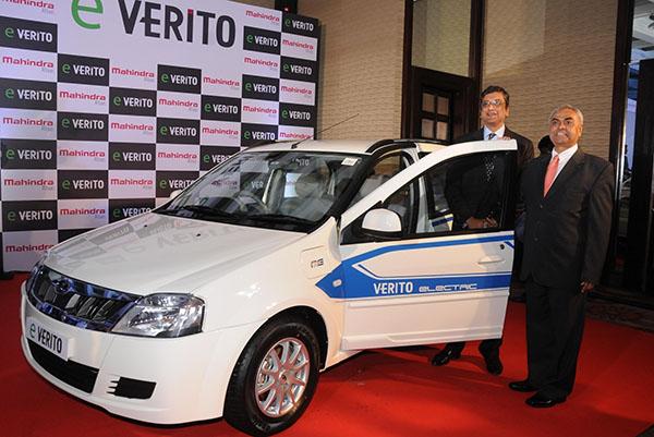 """New Delhi: Mahindra & Mahindra CEO (Automotive) Pravin Shah and Mahindra Reva Electric Vehicles CEO Arvind Mathew at the launch of  Mahindra's all electric """"e-Verito"""" in New Delhi, on June 2, 2016. (Photo: IANS)"""