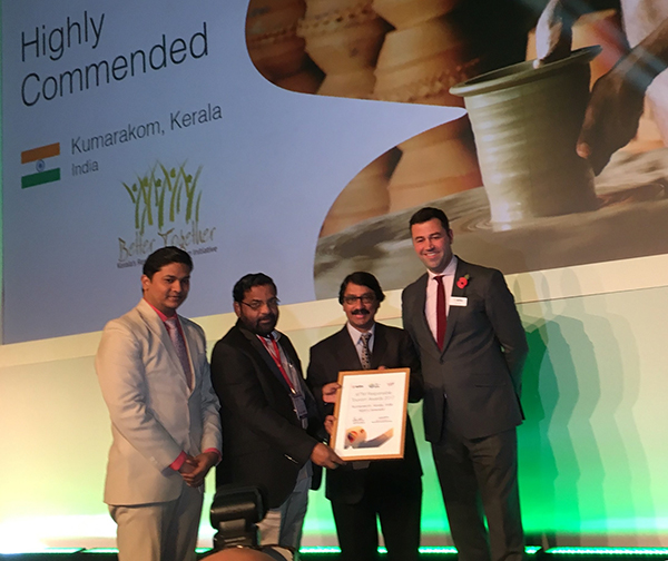 Shri Kadakampally Surendran, Honorable Minister for Co-operation, Tourism and Devaswoms, Government of Kerala received the Highly Commended Responsible Tourism Award with Dr. Venu, Principal Secretary, Kerala Tourism and Mr. P Bala Kiran, Director, Kerala Tourism at WTM London