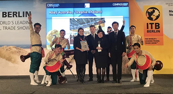 In photo, front row: Ms. Denduen Luengcheng (3rd from left), Director of TAT Frankfurt Office; Mrs. Patsee Permvongsenee (Centre), Director of Europe, Africa and Middle East Market Division; and Mr.Pongthong Intratat (2nd from right), Deputy Director, TAT Frankfurt Office, received the award on behalf of the TAT