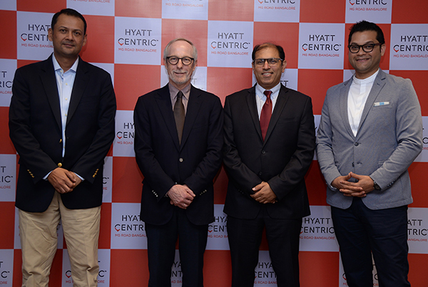 The launch event of the Hyatt Centric brand in India was attended by (L-R) Dhruva Rathore, Director of Development - ‎Hyatt Hotels & Resorts, Peter Fulton, Group President – Europe, Africa, Middle East and South West Asia, Hyatt Hotels Corporation, Sunjae Sharma, Vice President India Operations, Hyatt Hotels and Resorts, and Varun Mohan, General Manager, Hyatt Centric MG Road Bangalore.