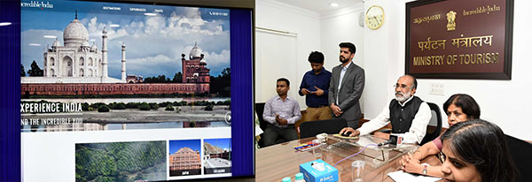 The Minister of State for Tourism (I/C), Shri Alphons Kannanthanam launching the new Incredible India website, in New Delhi. The Secretary, Ministry of Tourism, Smt. Rashmi Verma is also seen