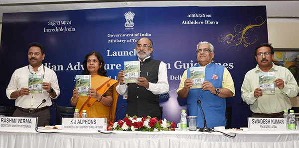 The Minister of State for Tourism (I/C), Shri Alphons Kannanthanam launching the Indian Adventure Tourism Guidelines, at a function, in New Delhi. The Secretary, Ministry of Tourism, Smt. Rashmi Verma, The Joint Secretary, Ministry of Tourism,  Shri Suman Billa (IAS), ATOAI President, Shri. Swadesh Kumar and other dignitaries are also seen.