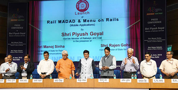 The Union Minister for Railways, Coal, Finance and Corporate Affairs, Shri Piyush Goyal launching the two apps 'Rail Madad' and 'Menu on Rails', at a press conference on the achievements of the Ministry of Railways & Coal, during the last four years, in New Delhi. The Minister of State for Communications (I/C) and Railways, Shri Manoj Sinha, the Chairman, Railway Board, Shri Ashwani Lohani, the Director General (M&C) and other dignitaries are also seen.