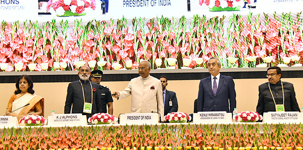 "The President, Shri Ram Nath Kovind at the inauguration of the ""International Buddhist Conclave- 2018"". The Minister of State for Tourism (I/C), Shri Alphons Kannanthanam, the Ambassador of Japan to India, Mr. Kenji Hiramatsu and the Secretary, Ministry of Tourism, Smt. Rashmi Verma are also seen."