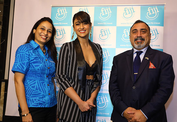 Tourism Fiji Brand Ambassador Ileana D'cruz with the High Commissioner of the Republic of Fiji, His Excellency, Yogesh Punja & Country Manager India, Seema Kadam at the unveiling of their brand campaign