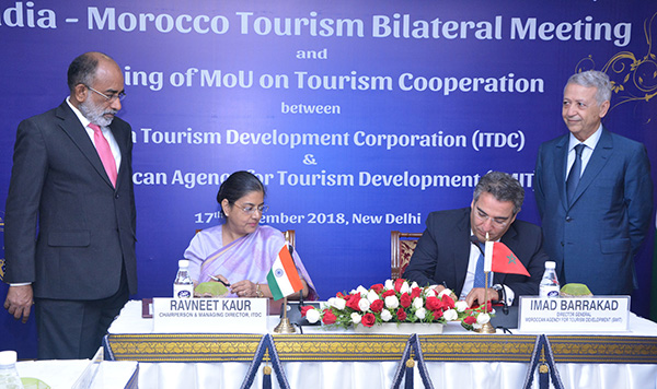 The Minister of State for Tourism (I/C), Shri Alphons Kannanthanam and the Tourism Minister of Morocco, Mr. Mohamed Sajid witnessing the signing an agreement of cooperation between ITDC, India and SMIT, Morocco, in New Delhi