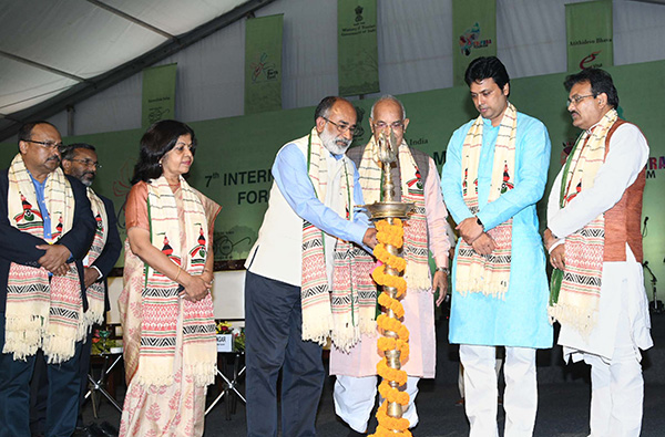 The Minister of State for Tourism (I/C), Mr. Alphons Kannanthanam lighting the lamp at the inauguration of the 7th International Tourism Mart 2018, in Agartala. The Governor of Tripura, Mr. Kaptan Singh Solanki, the Chief Minister of Tripura, Mr. Biplab Kumar Deb and the Secretary, Ministry of Tourism, Smt. Rashmi Verma are also seen.