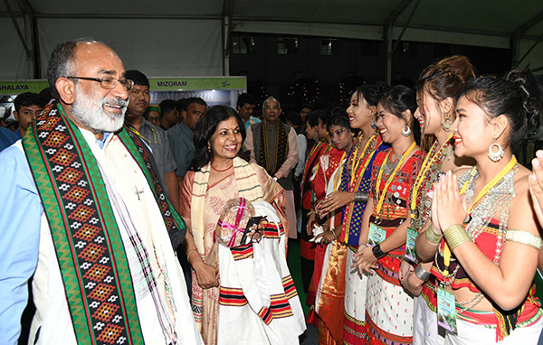 The Minister of State for Tourism (I/C), Mr. Alphons Kannanthanam visiting after inaugurating an exhibition, at the 7th International Tourism Mart 2018, in Agartala.
