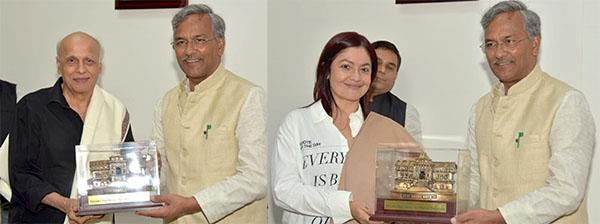 Film Producer Director Mahesh Bhatt and Pooja Bhatt met Chief Minister Mr. Trivendra Singh Rawat at CM residence.