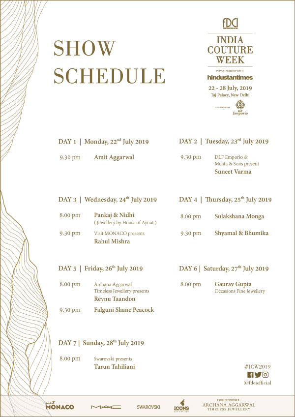 India-Couture-Week-2019-FDCI-Fashion-Deisng-Council-Of-india-Schedule