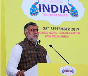 Indian Tourism Mart 2019 the Union Minister of State for Culture and Tourism (Independent Charge), Shri Prahlad Singh Patel speaking